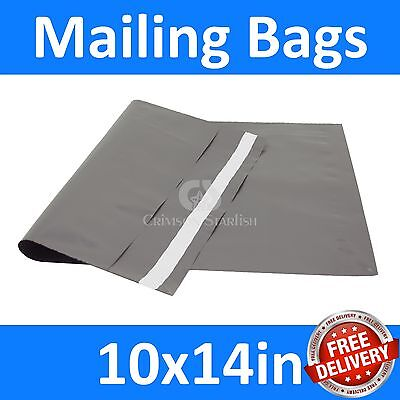 10x14in x 200 Grey Mailing Bags, Strong Poly Postal Postage, Inc VAT, Free P&P