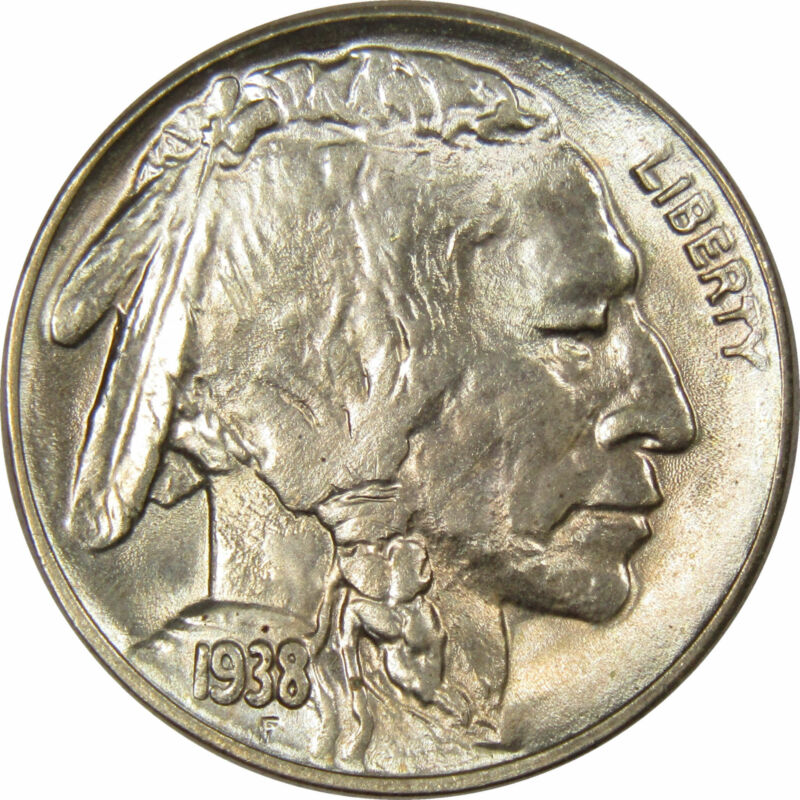 1938 D 5c Indian Head Buffalo Nickel US Coin Very Choice Uncirculated Mint State