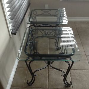 Glass and black metal end tables