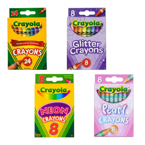 48 Crayola Crayons 4-Pack Bundle Glitter Neon Pearl Assorted Classic Colors