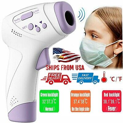 Digital LCD Non-contact Infrared Thermometer Forehead Body Temperature Gun CE US