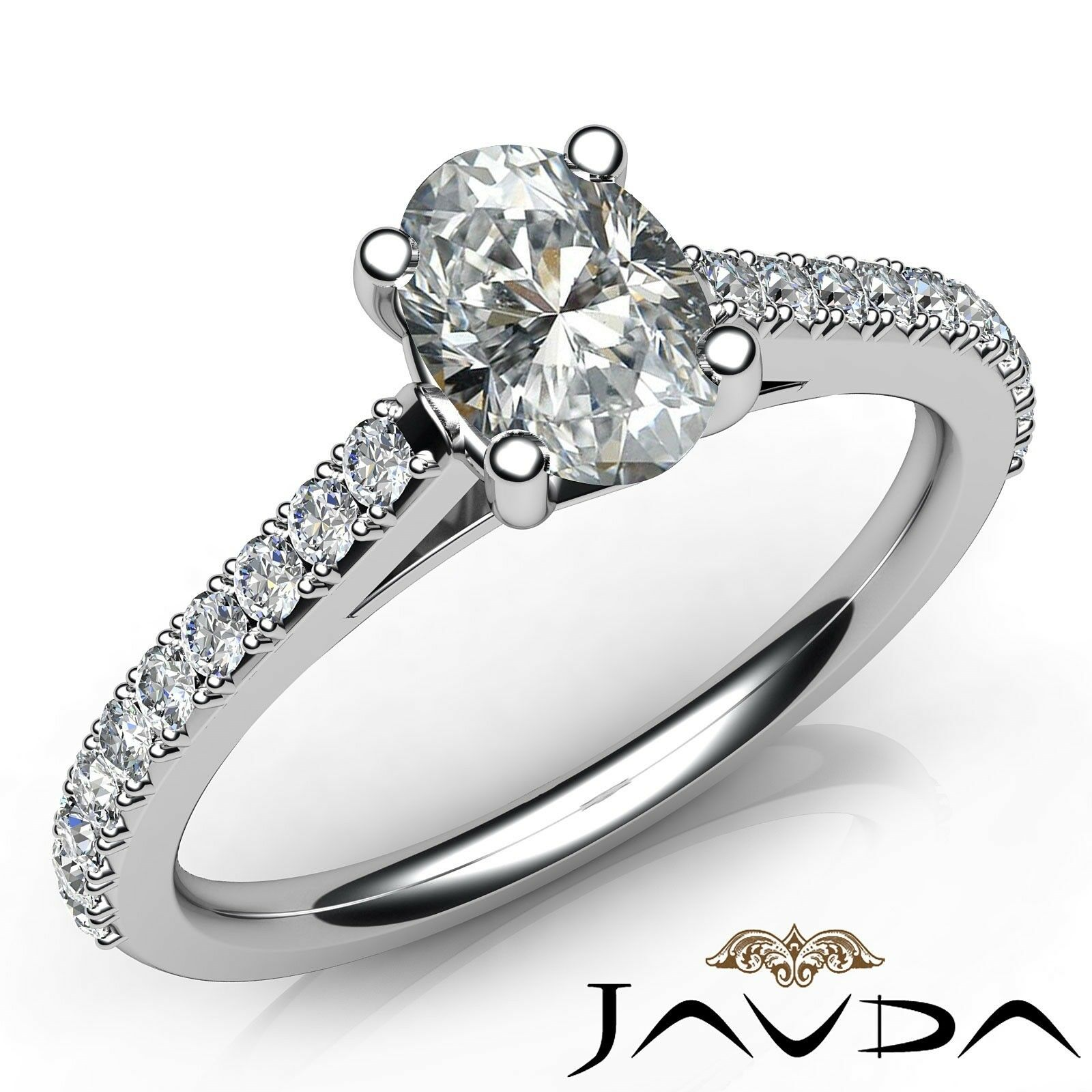 0.8ctw Cathedral Rings Oval Diamond Engagement Ring GIA F-VVS1 White Gold Rings