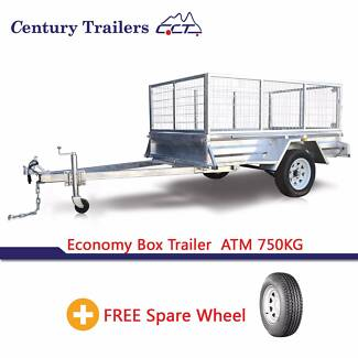 8 X 5 Box Trailer With 600mm Cage And Spare Wheel ATM 750kg