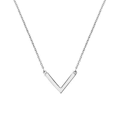 Chic Minimalist Sterling Silver Arrow V-Shaped Pendant Necklace