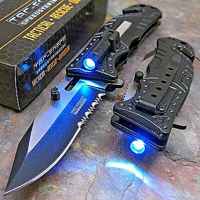 Knife - TAC-FORCE Black SHERIFF Spring Assisted Open LED Tactical Rescue Pocket Knife