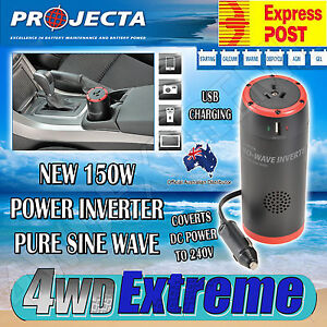 PROJECTA 12V PURE SINE WAVE INVERTER 150W WATT CIGARETTE PLUG IN CAR POWER PW150