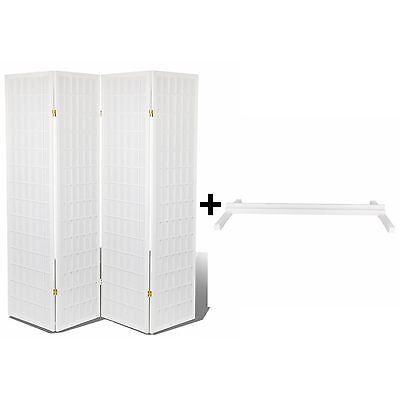 White 4 Panel High Quality Oriental Room Divider +Stand/Holder Combo/Set