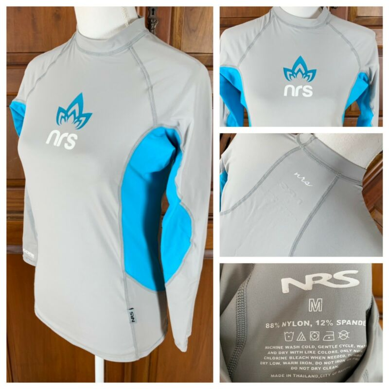 NRS H2Core Long Sleeve Rash Guard Shirt Gray Blue UV Protection Women