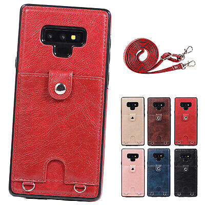 Leather Shoulder Cross-body Strap Card Holder Back Case Fr Galaxy S7/S8/S9/Note9 ()