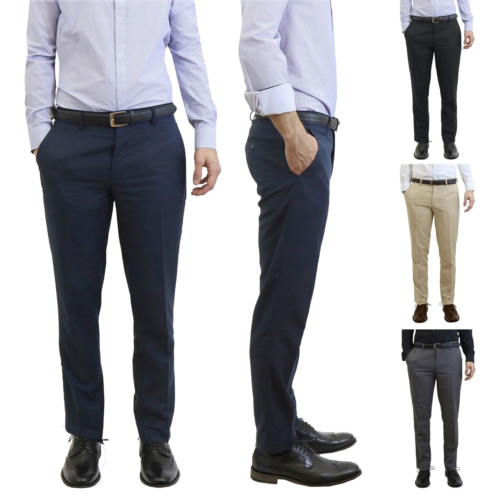 Mens Dress Pants With Belt Slim Fit Flat Front Fancy Work Un