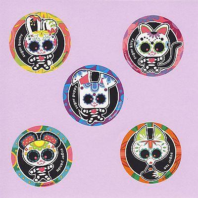 15 Sugar Skulls - Large Stickers - Halloween - Panda, Bunny, Kitty, Puppy, - Halloween Panda Kitty
