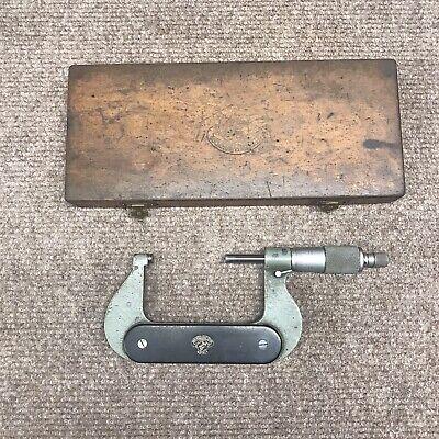 Vintage Etalon Micrometer 1-2 In Wood Box