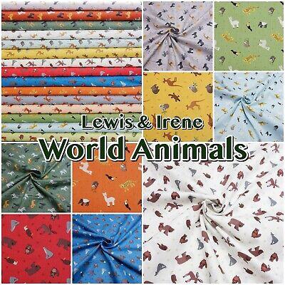 Lewis & Irene WORLD ANIMALS Zoo Jungle 100% Cotton Patchwork Fabric
