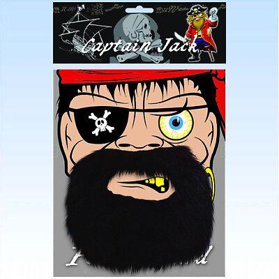 Bart für Piraten schwarz Pirat Piratenkostüm Accessoire Piratenbart Vollbart
