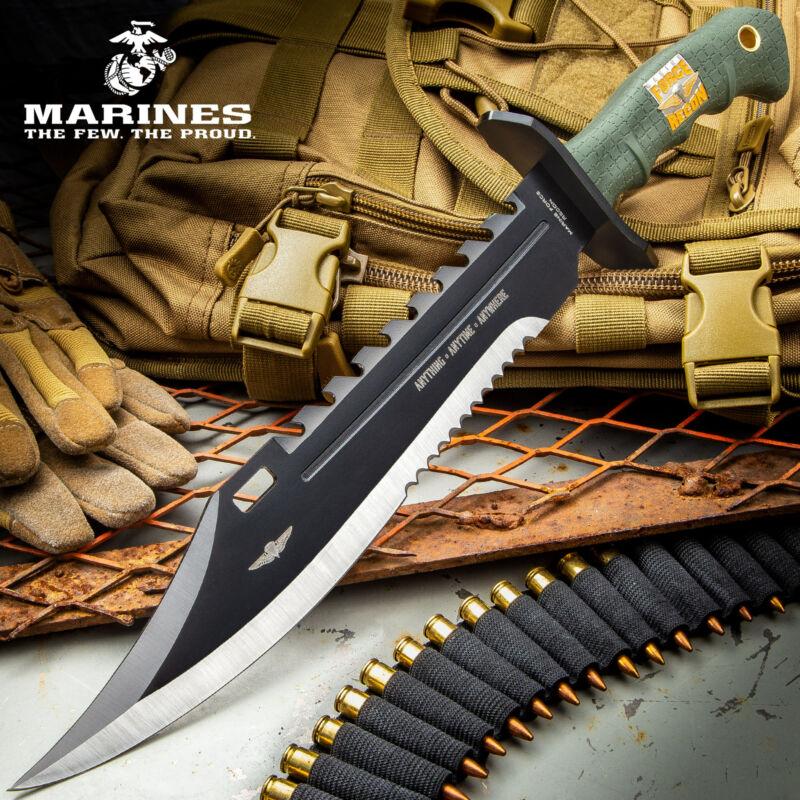 "17"" USMC MARINES Hunting Tactical FIXED BLADE KNIFE Machete Army Bowie + SHEATH"