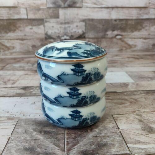 Japanese 3 Tier Jubako Round Porcelain Keepsake Box Seal Marked