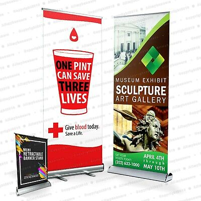33 X 80 Smooth Full Color Banner For Roll Up Stand Display High Definition