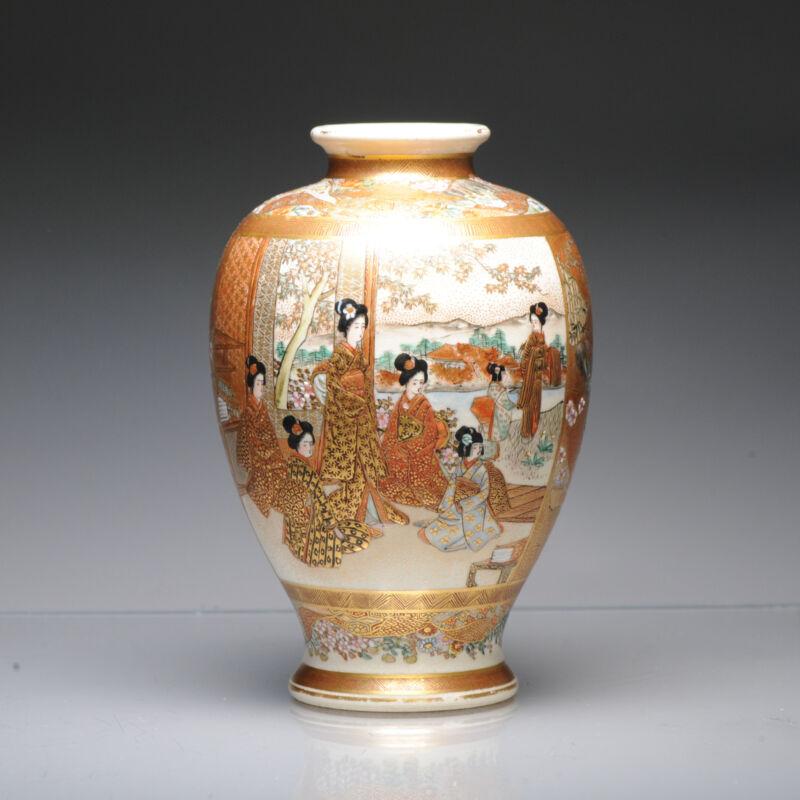 Antique ca 1900 Japanese Satsuma Kinkozan Vase Richly Decorated Marked