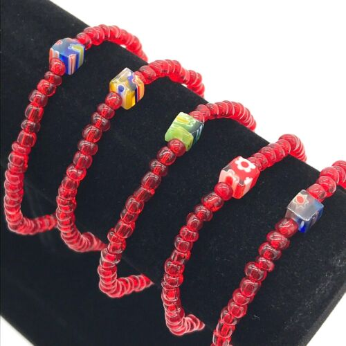 Wholesale Millefiori Glass Bead Stretch Bracelets Handmade in the USA Lot of 5