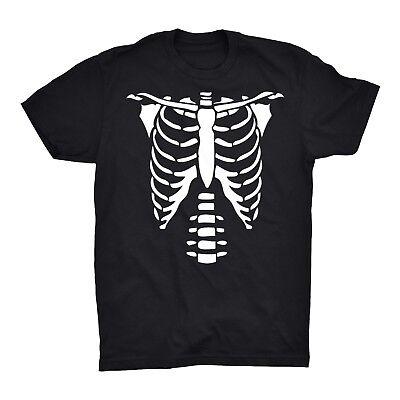 Skelett Brust T-Shirt Brustkorb Schädel Lamellen Halloween Kostüm Freddy - Kostüm Brust Shirt