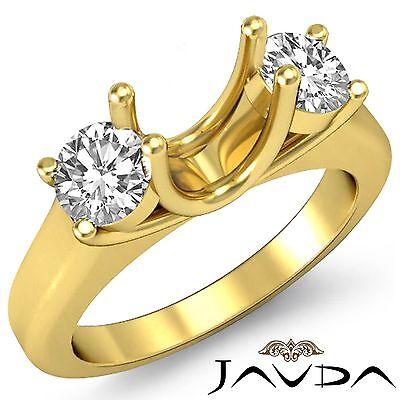 Round Diamond 3 Stone Anniversary Semi Mount Unique Ring 14k Yellow Gold 0.5Ct