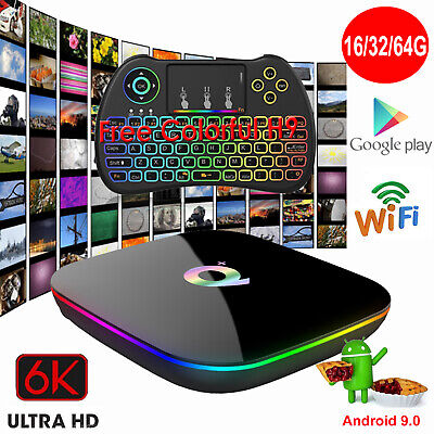 Q-PLUS Android 9.0 16/32/64G 6K Smart TV Box WIFI Media Movies+Keyboard Touchpad