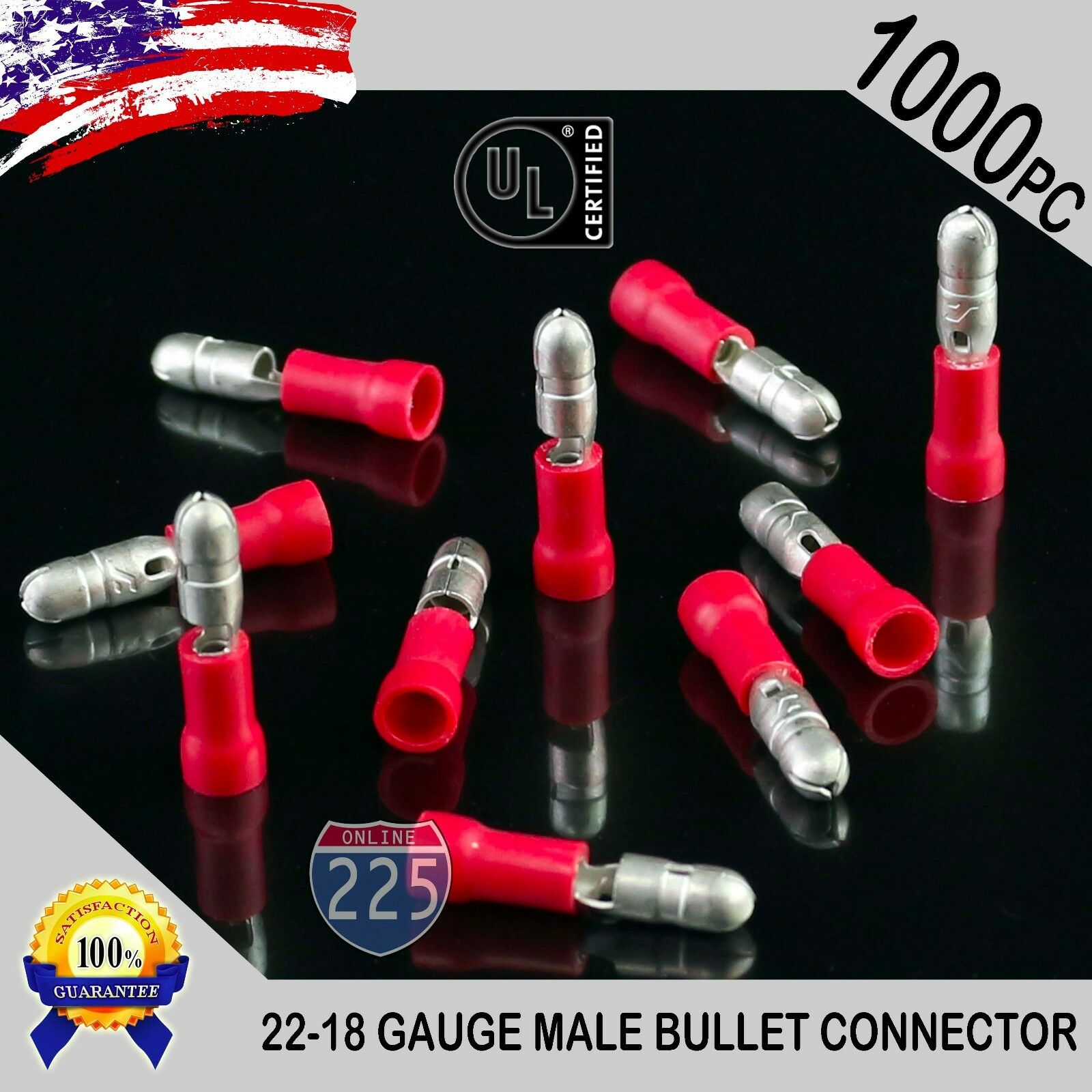 1000 Pack 22-18 Gauge Red Male Bullet Connectors Fully In...