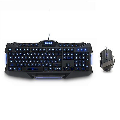 Plixio Backlit LED Light Up Wired Gaming Keyboard and USB Mouse Set 3 Colors PC
