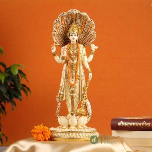 Vishnu Statue Ivory Look Dust Marble Vishnu Bhagwan Hand Painted Marble Vishnu