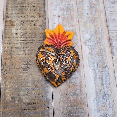 Mexican Milagro Heart Decoration Mini Orange 16