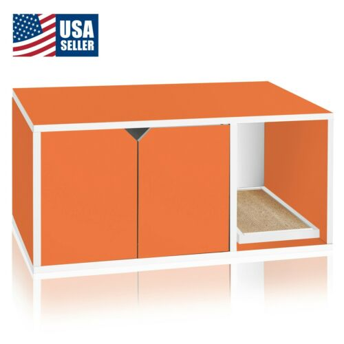 Cat Litter Box Enclosed Eco Stackable Modern House Furniture Scratch Pad, Orange