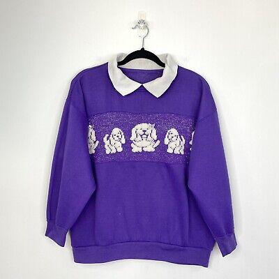 80s Sweatshirts, Sweaters, Vests | Women Vintage Dog Puppy Sweater Jumper Fairy Kei Kawaii Purple Collared fit Sz 12 - 16 $37.09 AT vintagedancer.com