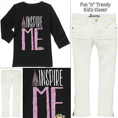 NWT Gymboree POSH AND PLAYFUL Girls Size 4 or 5 Jeans & Tee Shirt Top OUTFIT SET