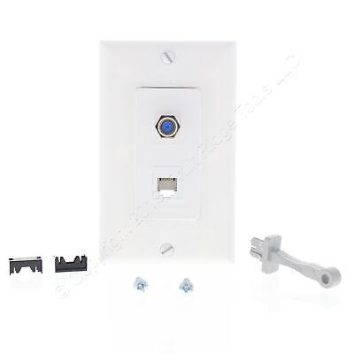 White Quickport Insert CATV F-Type Cable Phone Jack Decora Plate Leviton 41658-W