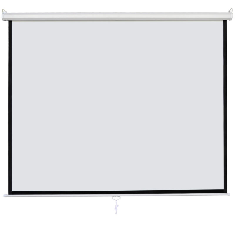 "120"" 1:1 Manual Pull Down Projection Screen Matte White Home HD Movie Theater"