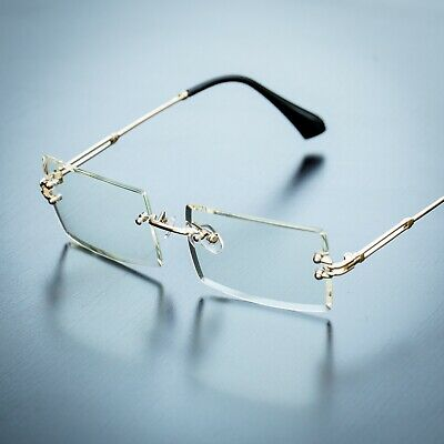 Men's Gold Sophisticated Clear Lens Square Rimless Rectangle Eye Glasses (Clear Polarized Glasses)