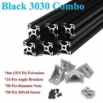 Black 3030 T-slot 30mm Aluminum Extrusion Kit 6x 1m  Angle Brackets Screws Nu