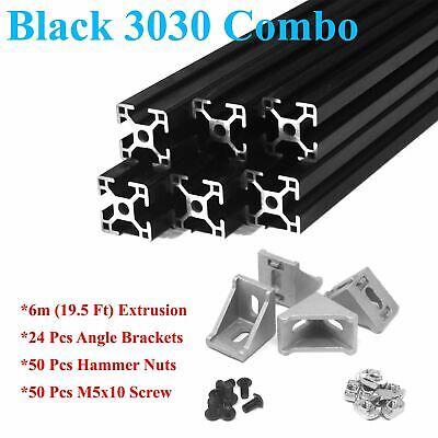 Black 3030 T-slot 30mm Aluminum Extrusion Kit 6x 1m  Angle Brackets Screws Nu