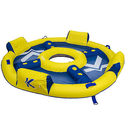 SwimWays Kelsyus Big Nauti Elite 4 Person Inflatable Float Raft, Yellow and Blue