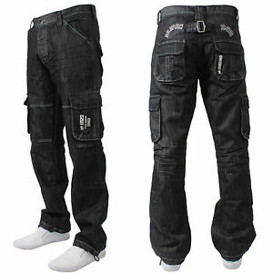 BNWT-NEW-MENS-ENZO-BRANDED-DESIGNER-COMBAT-JEANS-PANTS-WAIST-SIZES-28-42-EZ08