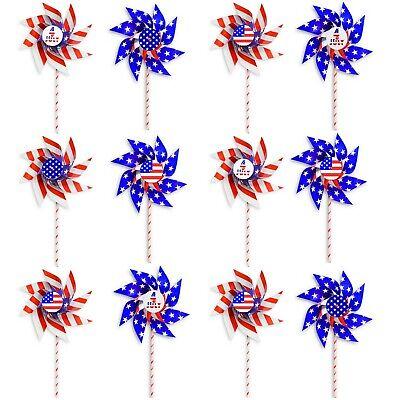 VHALE 12 DIY Patriotic Paper Windmills Party Pinwheels 4th of July American Flag