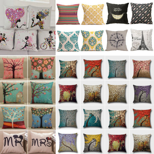 Vintage Cotton Linen Pillows Case Sofa Car Waist Throw Cushi