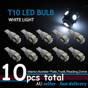 10x T10 194 168 SMD 5050 LED Car Wedge Tail Side Parker Light Globes 12V - WHITE
