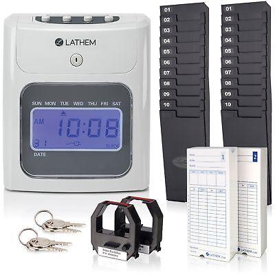Lathem Time Clock Kit Electronic Top-feed 7-25wx5lx8-12h Gy 400ekit