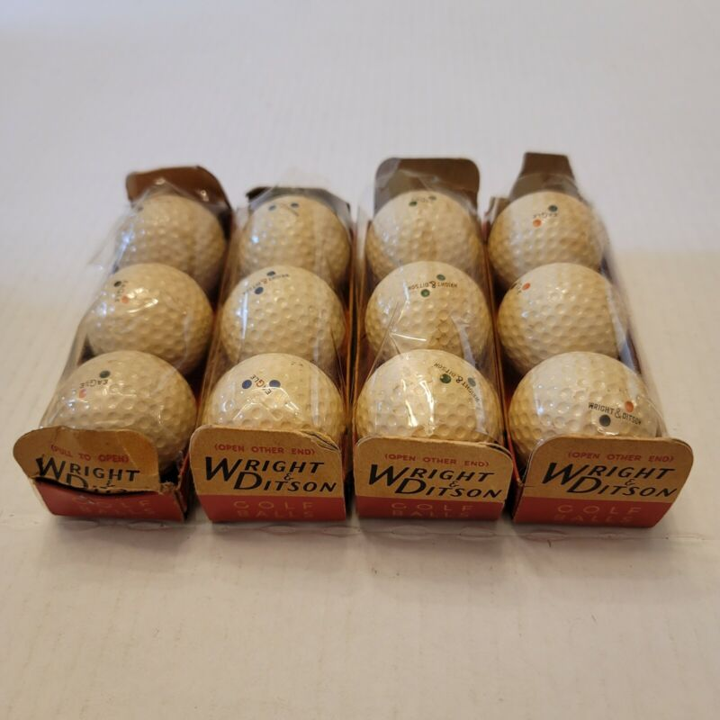 Antique Wright & Ditson Eagle Green Blue Blk & Red Dot DImpled Golf Balls NOS