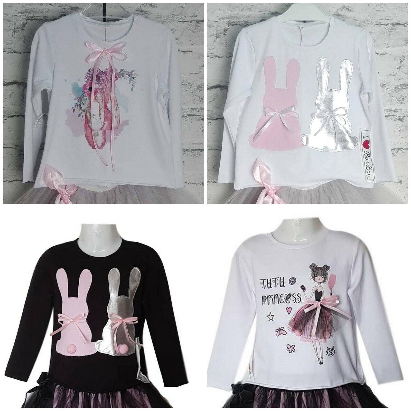 Ausverkauf!! Mädchen Kinder Tshirt Shirt Langarm  Hase Ballett 86-128 Party