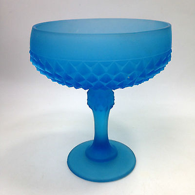 Vintage BLUE FROSTED GLASS Pedestal Bowl
