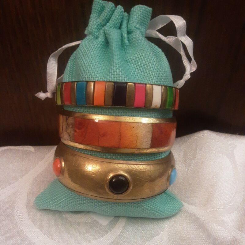 "Vintage Brass Bracelets Etched Inlaid Stone Lot Of 3 8"""