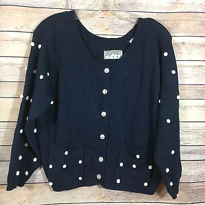 Vintage Esprit Womens Sweater Blue Button White Pom Pom Retro Cardigan Jacket M