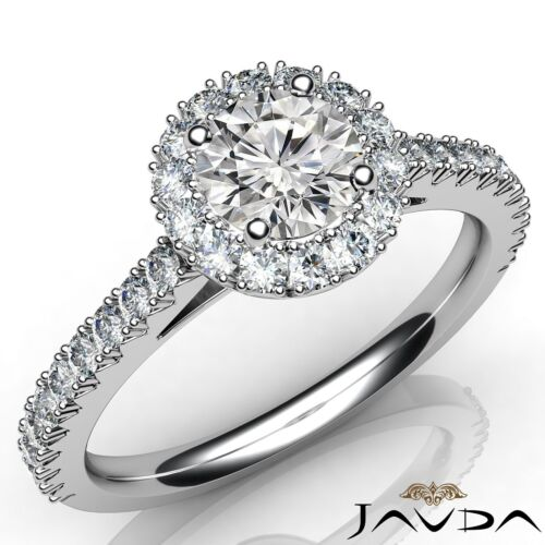 Round Diamond Engagement GIA F VVS1 Platinum French V Cut Halo Pave Ring 1.5ct